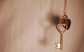 chiave, cuore, castello, Macro