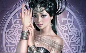 арт, девушка, азиатка, украшения, браслеты, прическа, косы, узор, рука