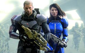 Capitn Shepard, Comandante Shepard, serie, Soldados, Arma, escopeta, rifle, Ashley Williams, cicatrices, guerra, armadura
