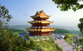 Япония, замок, пагода, ступеньки, деревья