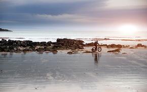 mare, cielo, bicicletta, paesaggio
