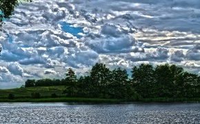 lake, sky, clouds, landscape, water, nature