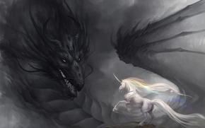 Art, dragon, unicorn, rainbow, gloom