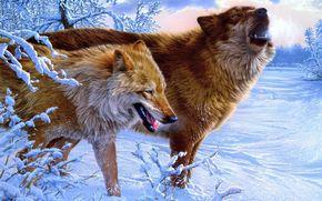 Wolves, Winter, snow, Art