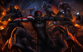 Art, Capt., Shepherd, Reapers, robot, battle
