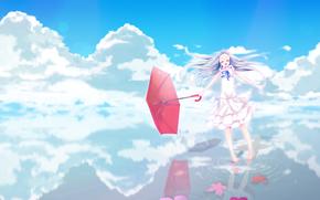 девочка, платье, розовый, Невиданный цветок, Мэйко Хомма, зонтик, вода, цветы, счастье, улыбка, небо, аниме
