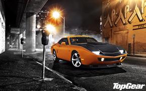 Top Gear, top gear, the best TV show, front, muscle car, orange, Tuning, night, Street, lantern, Dodge