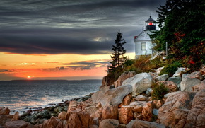 stones, lighthouse, sea, evening, sunset, clouds