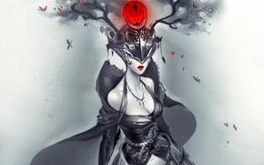 арт, девушка, шлем, рога, черно-белое, красное