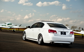 Lexus, biay, powrotem koca, samolot, pas startowy, niebo, chmury, Lexus