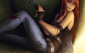 Arte, ragazza, arma, pistola, sangue, ferita, seduta, muro, Rosso