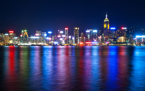 Hong Kong, China, Victoria Harbour, sea, night, lights, backlight, megalopolis, Skyscrapers