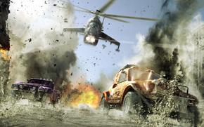 elicottero, volo, inseguimento, molestia, macchinario, fumare, ripresa, esplosione