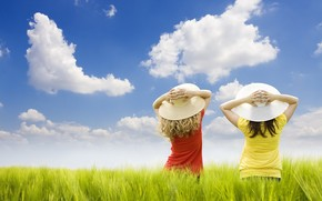 field, clouds, hats, Girls