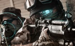 отряд призрак, оружие, солдаты, голограмма, очки, перчатки, прицел, автоматы, камуфляж