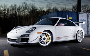 Porsche, pc, Supercar, front, white, Tuning, Trees, sky, porsche