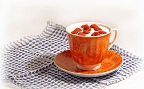 tea, drink, cup, napkin, Berries, raspberry, orange