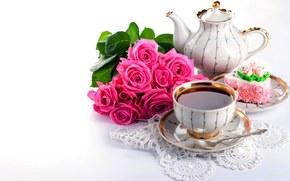 cup, kettle, tea, drink, cake, dessert, sweetness, Flowers, Rose, bouquet, napkin, lace