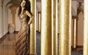 music, singer, girl, brunette, dress, gold