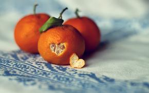 mandarin, peel, heart, tablecloth, orange, macro