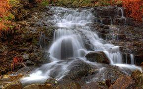 cascata, pietre, acqua