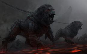 gorilla, hell, rocks, stones, Demons