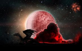 drago, planeta, Estrela, vermelho, fumar