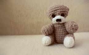 Bear, toy, hook, knitting