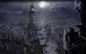 Властелин колец, Белый совет, Осгилиат, ночь, дорога, путники, луна, горы, Средиземье, руины, развалины