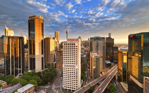 небоскребы, башня, эстакада, Австралия, Сидней