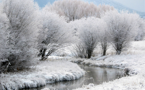Winter, snow, frost, Trees, creek, Mountains, in the distance, fog