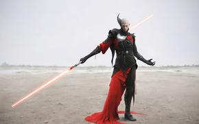 star wars, deserto, guerriero, armatura, spada laser