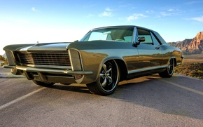 Buick, Riviera, 1965, muscle car, green, Buick, Riviera, green metallic, sky, cars, machinery, Car