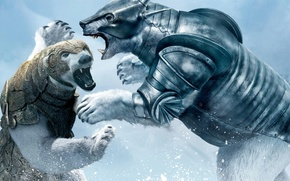La bussola d'oro, sopportare, combattere, fantasia, Adventures, neve, Pantserberny - orsi corazzati, Svalbard