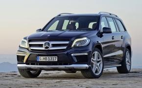 Mercedes, GL, camionetta, anteriore, blu, cielo, Mercedes