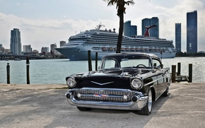 шевроле, ретро, чёрный, Майами, лайнер, Chevrolet