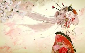 艺术, 女孩, 和服, 纹身, 轮廓, 樱花, 春天