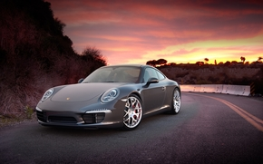 Car, machinery, Tuning, sky, sunset, road, Mountains, porsche