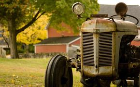 tractor, granja, herrumbre