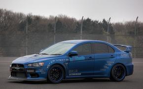 Mitsubishi, Lancer Evolution, blu, Sintonia, recinto, cielo, Mitsubishi