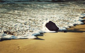 Macro, mare, schiuma, spiaggia, sabbia, pietra