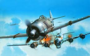 рисунок, самолет, истребитель, Фокке-Вульф, люфтваффе