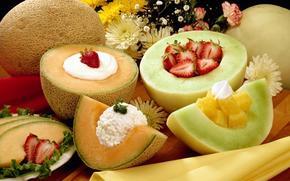 аппетитно, фрукты, дыни, сметана, клубника, цветы