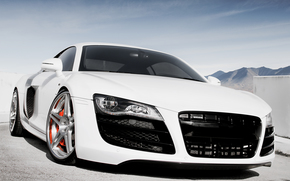 Audi, white, front end, parking, Mountains, sky, Audi