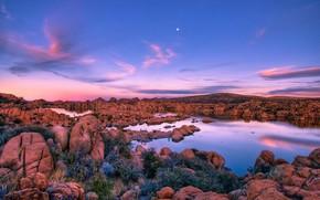 lago, piedras, tarde