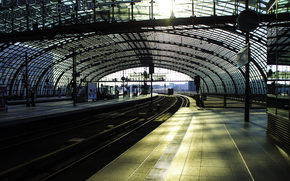of, Train, metro, station, Rails