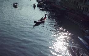 гондола, канал, вода, город, венеция