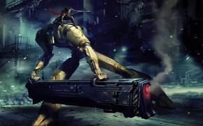 Арт, робот, пушка, выстрел, девушка, меч, готовность