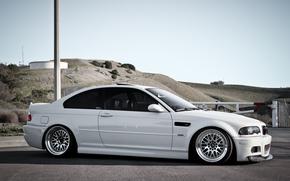 BMW, white, Hills, column, bmw