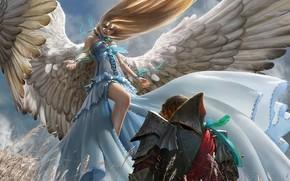 艺术, 女孩, 人, 天使, 翅膀, 甲, 骑士, 羽毛, 胶带, 耳朵, 领域